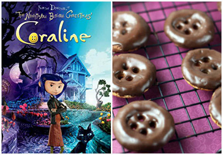 Coraline dvd cover and Coraline button cookies