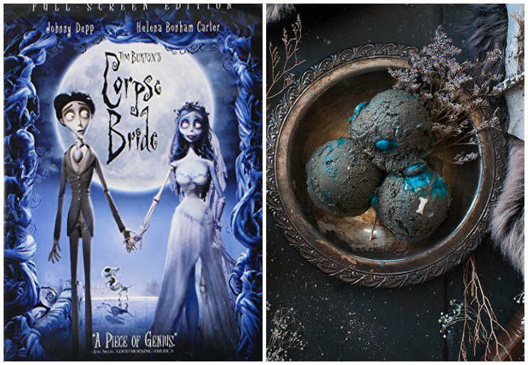 Corpse Bride dvd cover and black and blue ice cream
