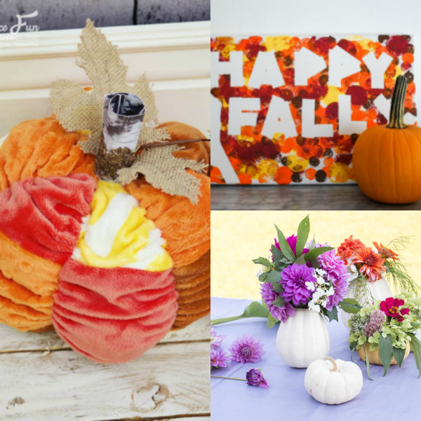 collage of pumpkin decor