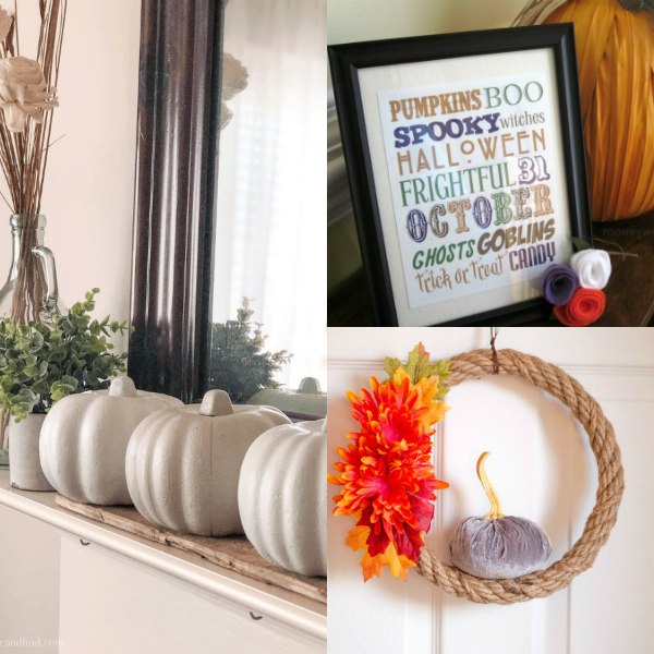 collage of beautiful fall decor