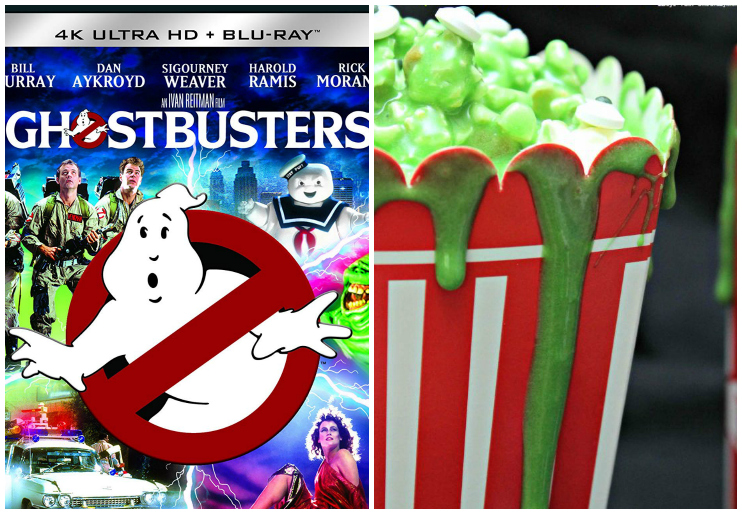 Ghostbusters dvd and Slimer popcorn