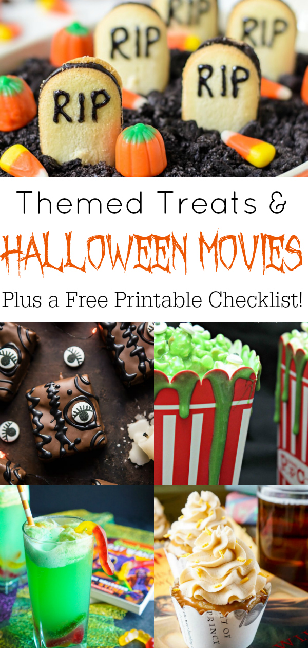 Collage of Halloween movies themed treats