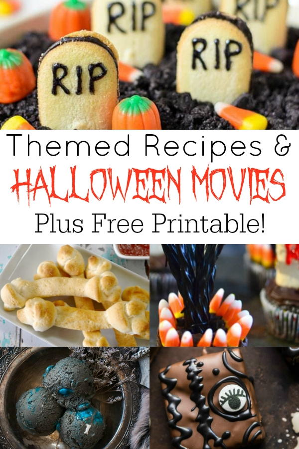 collage of halloween movie themed recipes