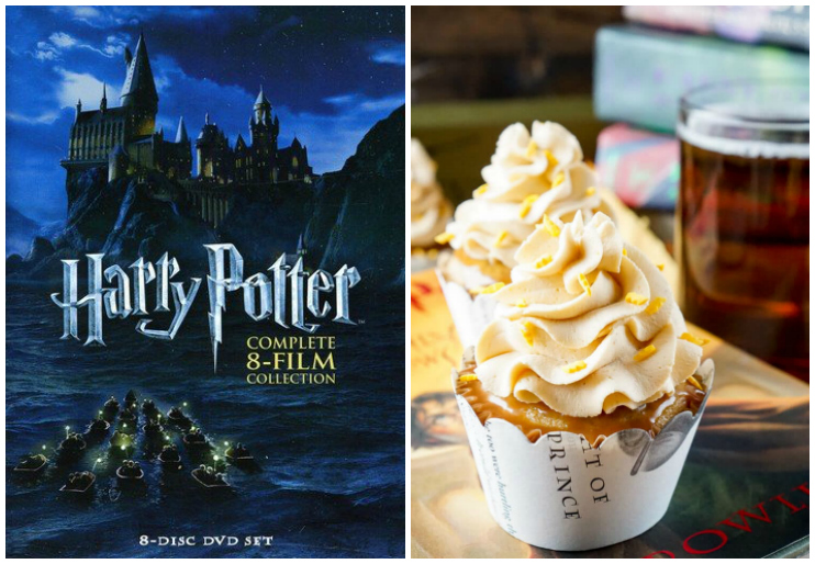 Harry Potter dvd cover and butterbeer cupcake