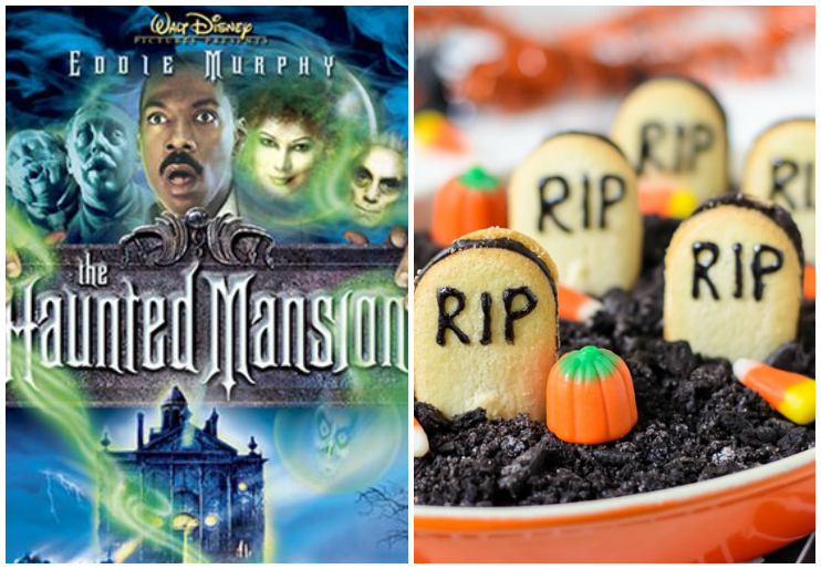 The Haunted Mansion dvd cover and graveyard dip