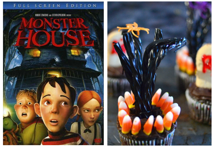 Monster House dvd cover and spooky tree cupcakes