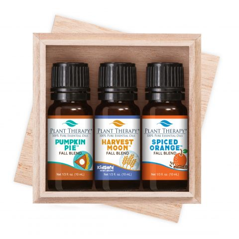 fall essential oil blends in wooden box