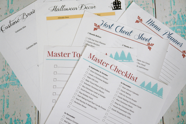 holiday planner printables on white and aqua background