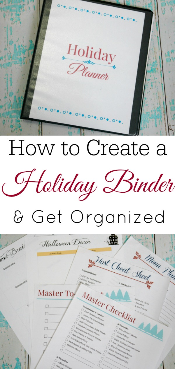 holiday binder and printables on aqua and white wooden background