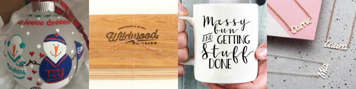 collage of Etsy gifts