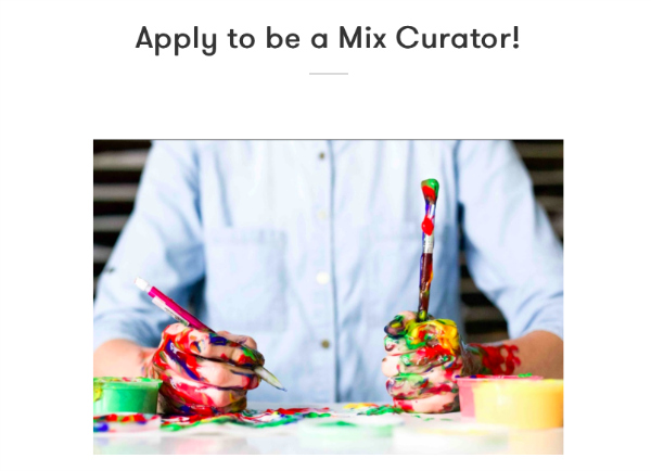 Screen shot of Mix Curator signup