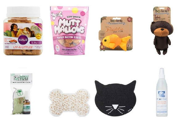 collage of pet Christmas gifts