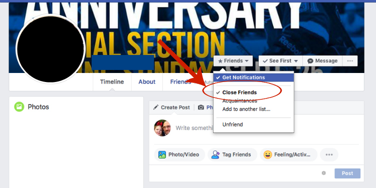 screen cap of Facebook showing close friend option