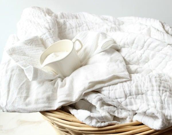 laundry in wicker laundry basket