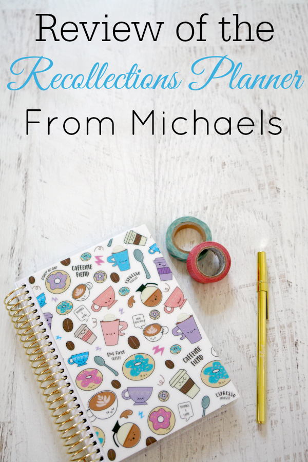 Recollections planner on white wooden background with washi tape and gold pen
