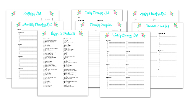 cleaning planner sheets on white background