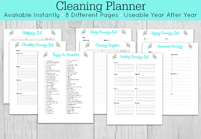 Cleaning planner printable sheets on wooden background