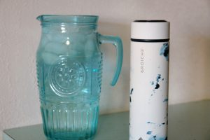 aqua water pitcher and Grosche insulated bottle