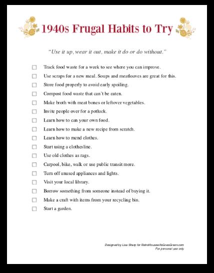 screenshot of frugal habits checklist