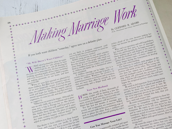 1950s marriage magazine article