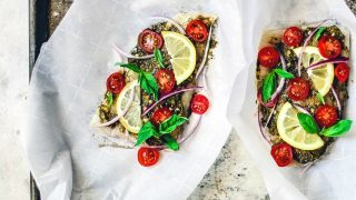Baked Flounder in Parchment Paper with Tomatoes and Pesto
