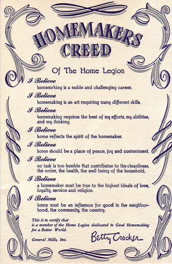 a photo of reportedly the homemakers' creed