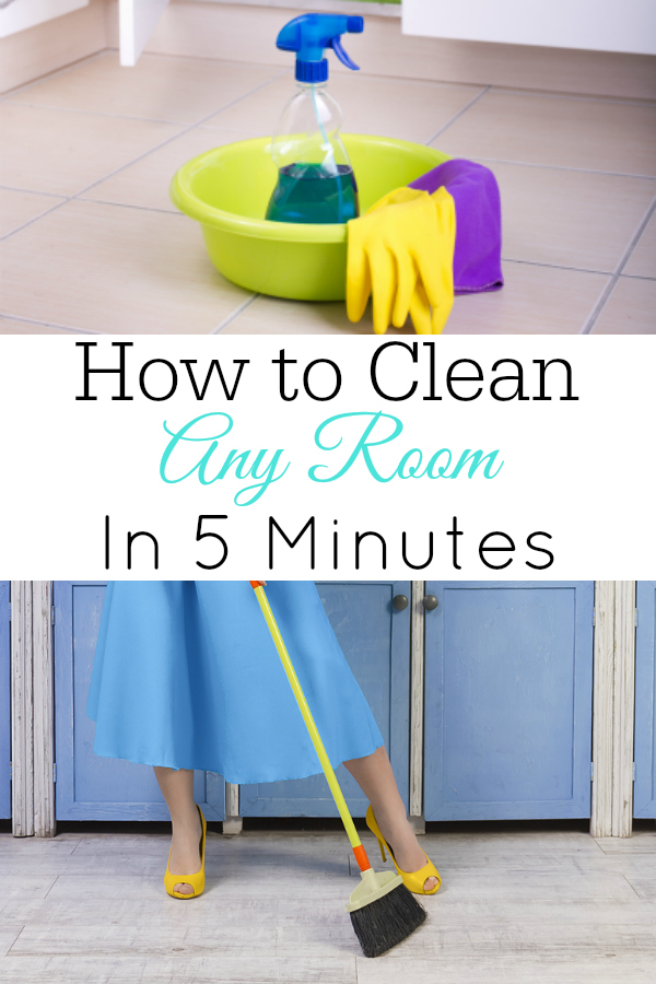 collage of cleaning supplies and woman sweeping