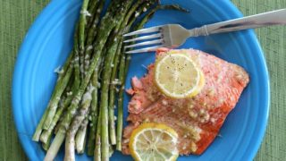 One Pan Lemon Garlic Salmon & Parmesan Asparagus