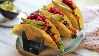 Smoky sweet potato & black bean tacos