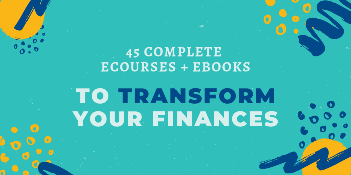 "graphic that says ""45 complete ecourses + ebooks to transform your finances."