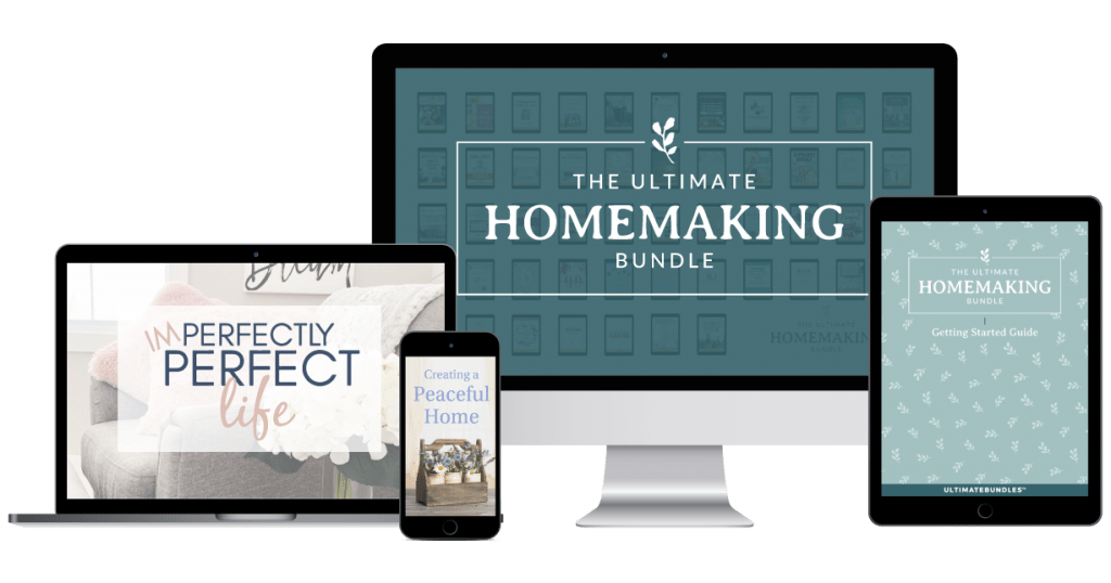 Ultimate Homemaking Bundle on computer, laptop, iPhone and iPad