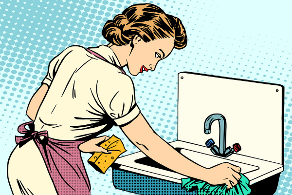 illustration of retro housewife cleaning sink