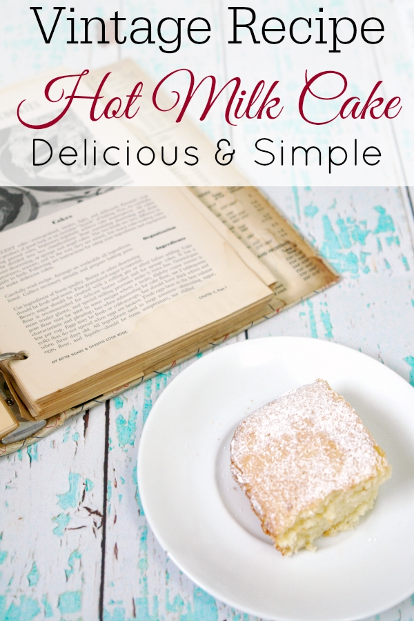 hot milk cake on plate and vintage cookbook