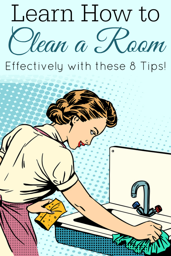 graphic of retro woman cleaning sink