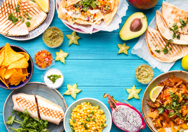 Mexican food on turquoise table