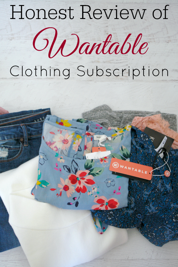 "clothing on white wooden background with text overlay ""honest review of Wantable clothing subscription"""