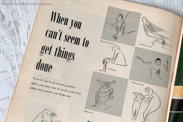 vintage magazine article about procrastination