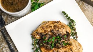 Chicken Breasts with Mushroom Sauce and Goat Cheese