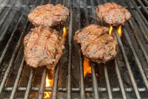 hamburgers on grill