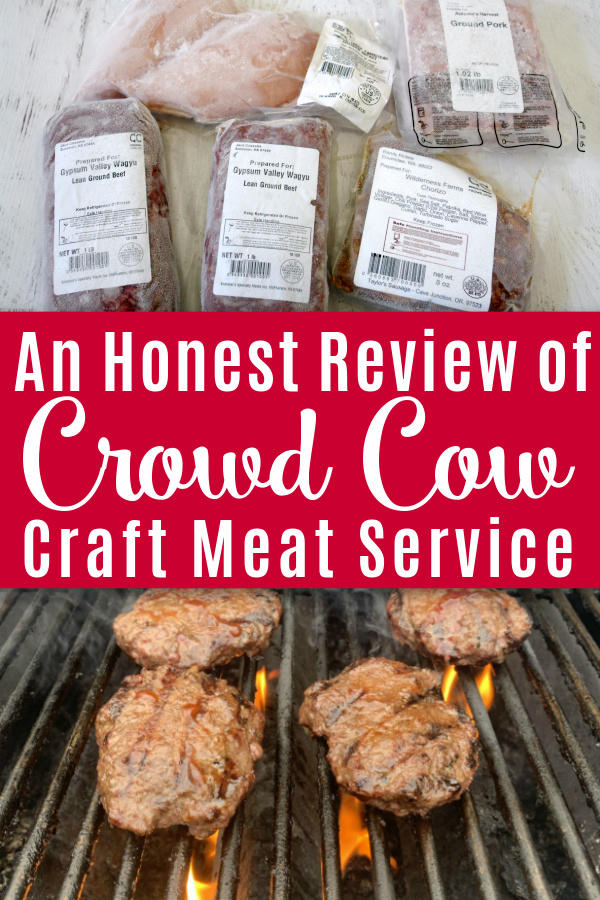 crowd cow meat on wooden table and burgers on grill with text overlay an honest review of crowd cow craft meat service