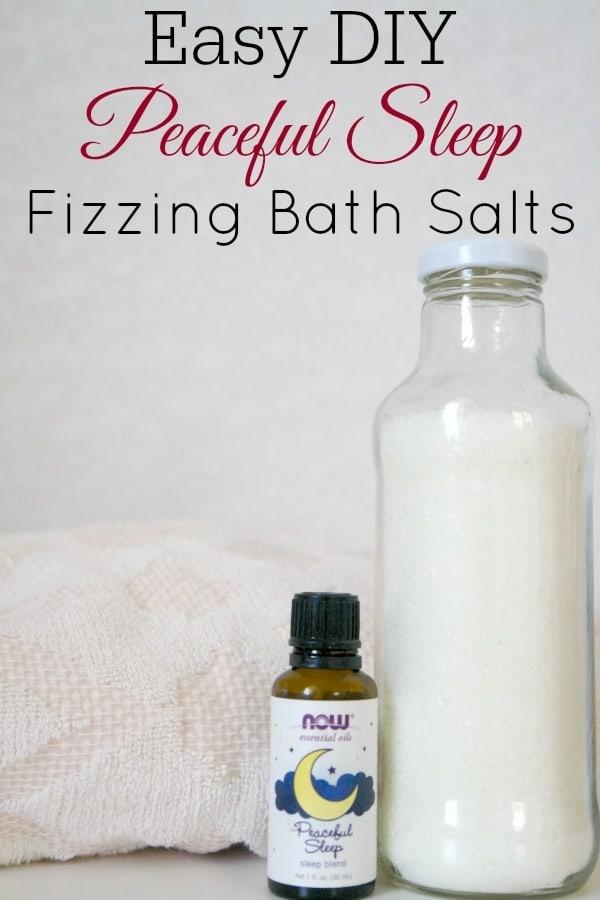 fizzing bath salts, essential oils, and bath towel