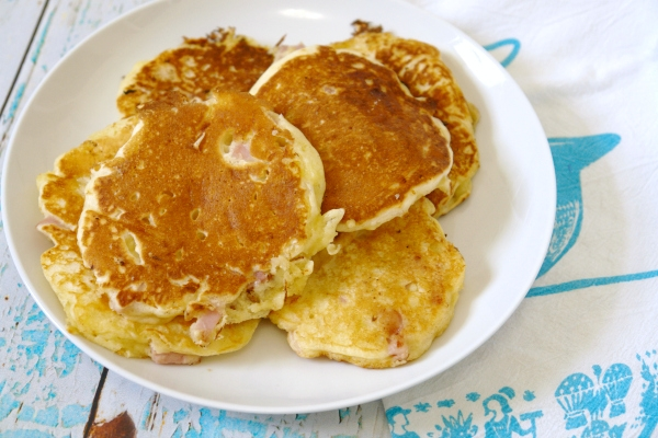 ham and cheese pancakes next to dish towel