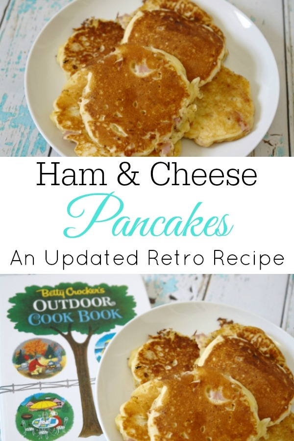Ham and cheese pancakes on white plate collage with cookbook