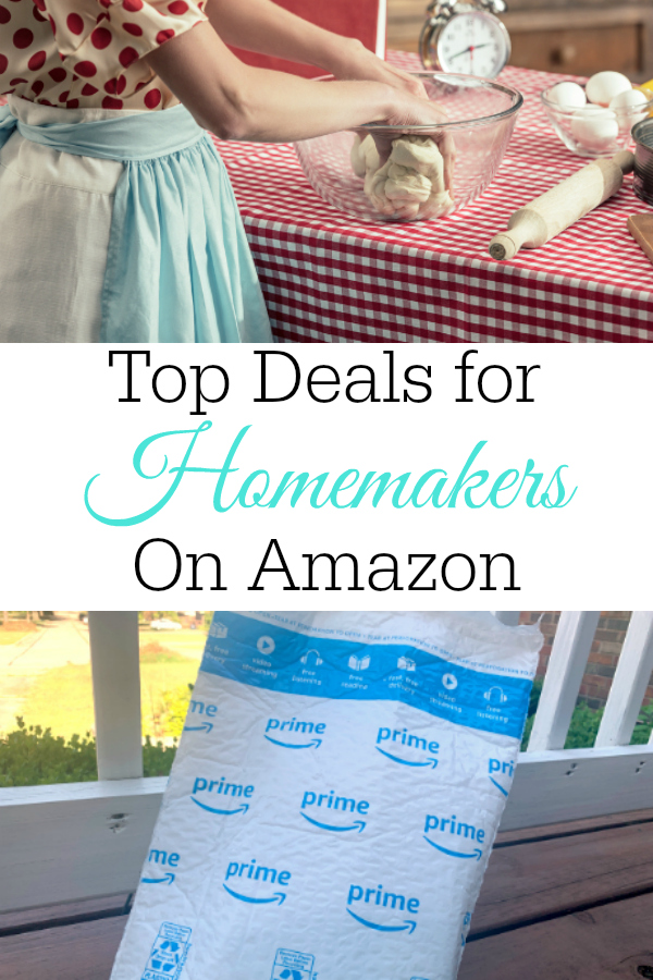collage homemaker kneading bread and amazon package on porch
