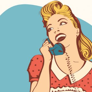 illustration of retro housewife on phone in kitchen