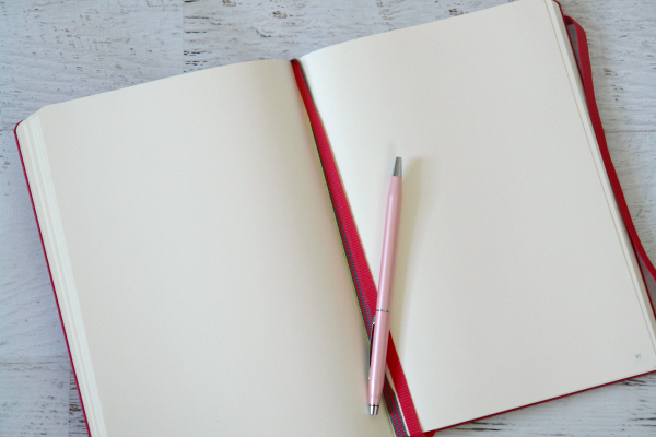 notebook open with pen