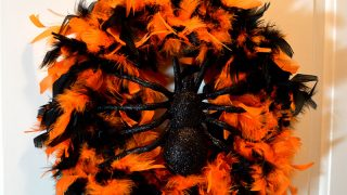 Feather Boa Halloween Wreath