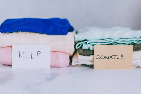 clothing being sorted for donation