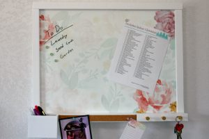 Erin Condren wall organization center with watercolor bloom insert and accessories