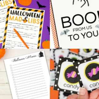 collage of Halloween free printables